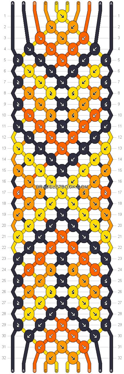 Friendship bracelet Pattern 17543 - 10 strings, 5 colours