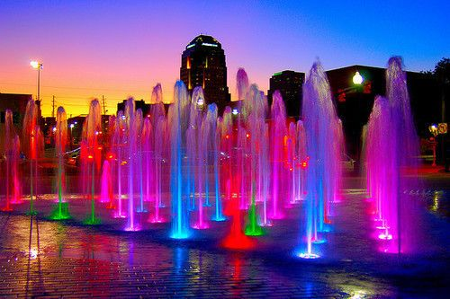 Colorful fountain: Waterfountain, Water Fountain, Trav'Lin Lights, Night Lights, Neon, Beautiful Places, Lights Show, Photo, Water Colors