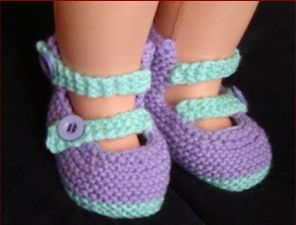 Knitting pattern for 8ply baby shoes with a high back and buttoned straps.