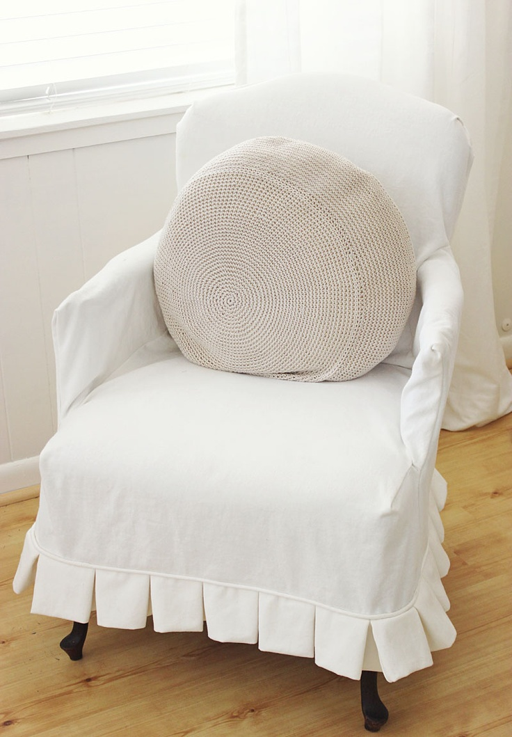 Beach House Style Simple Slipcover With Pleated Skirt