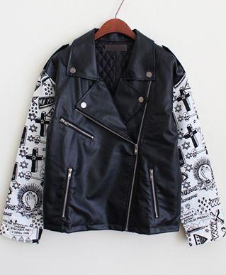 Black and White Cross Print Contrast PU Leather Biker Jacket US$45.90