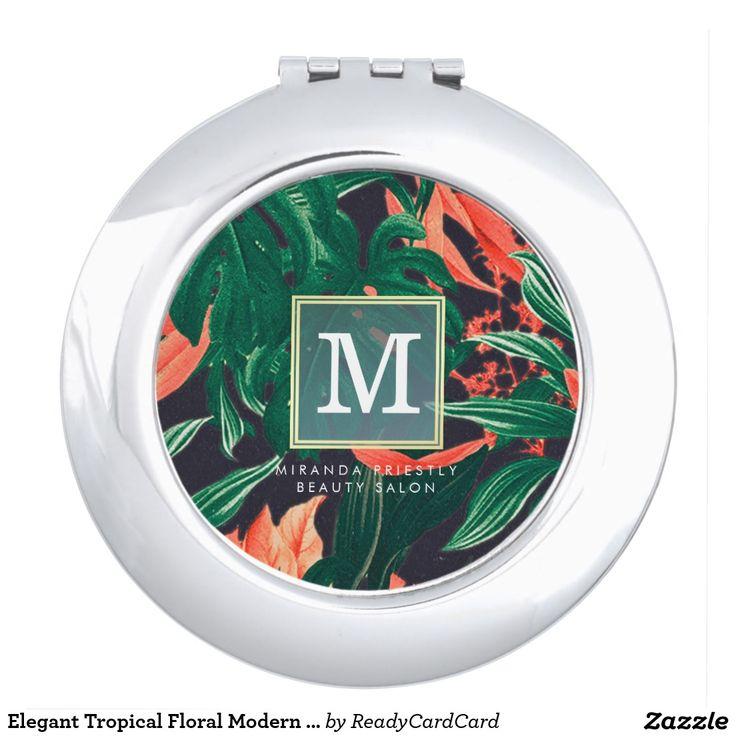 Elegant Tropical Floral Modern Gold Frame Monogram Mirror For Makeup