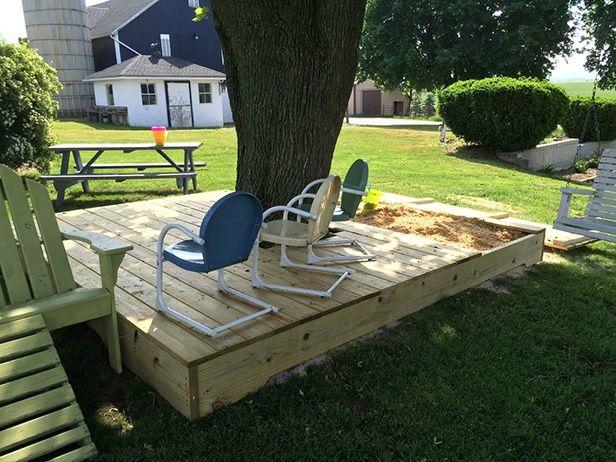 diy covered sandbox. Black Bedroom Furniture Sets. Home Design Ideas