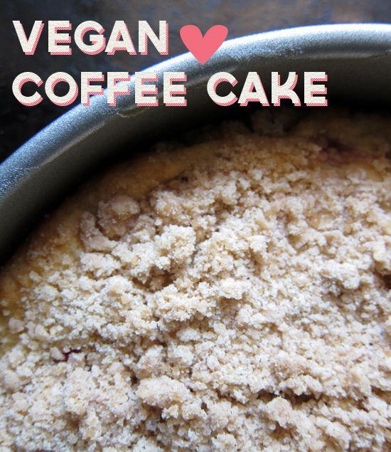 Vegan Coffee Cake  Isa Chandra Moskowitz  Cake: 3/4 cup almond milk 1 teaspoon apple cider vinegar 1/3 cup organic cane sugar 1/2 cup olive or canola oil 1 teaspoon vanilla 1 cup all-purpose flour 1/4 cup whole wheat flour 2 teaspoons baking powder 1/8 teaspoon nutmeg 1/8 teaspoon cardamom 1/2 tsalt 1 c frozen berries (optional) Crumble: 1 cup flour (a mix of all purpose & whole wheat is fine) 1/3 cup brown sugar 1 teaspoon cinnamon 1/4 teaspoon nutmeg 1/4 cup Earth Balance margarine