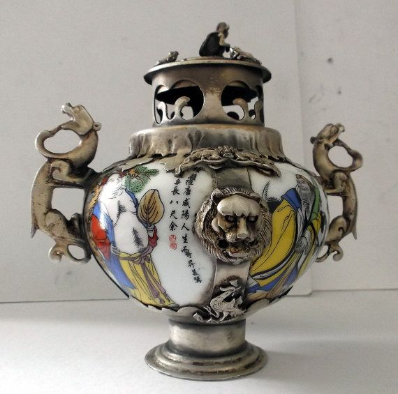 Asian Tibetan Miao Silver INCENSE Burner by lynnefrenchdesigns