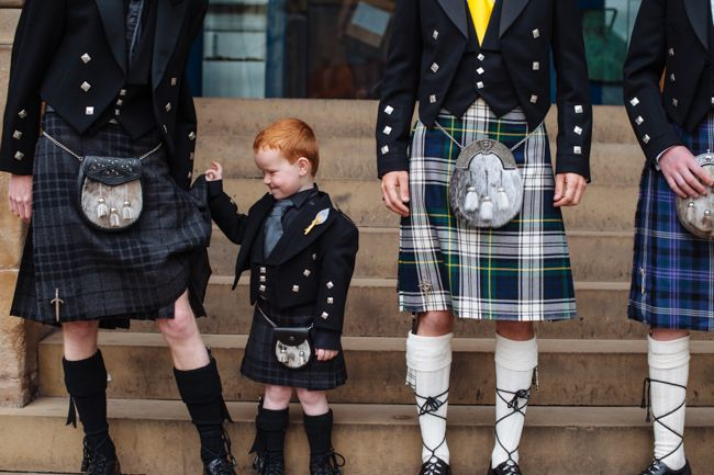 Groom and ushers in Kilts. http://marrymeink.co.uk/2014/02/03/a-retro-cartoon-tattoo-and-music-orientated-wedding-with-dr-martens-annmarie-malcolm/