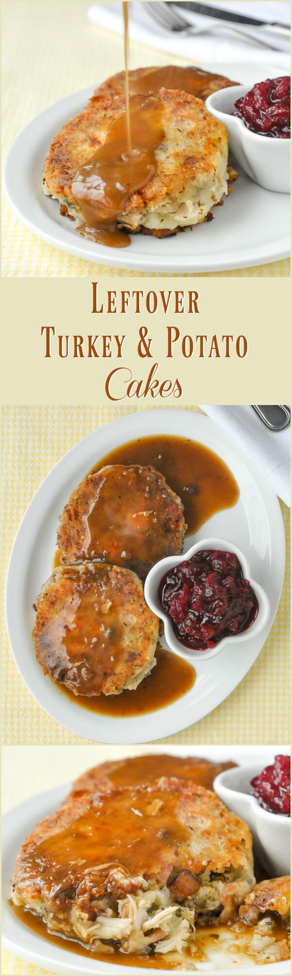 Leftover Turkey Potato Cakes - pure comfort food heaven...and from leftovers too! A must-make recipe for after Thanksgiving or Christmas. These crispy potato and turkey cakes may be even better than the meal that preceded them.