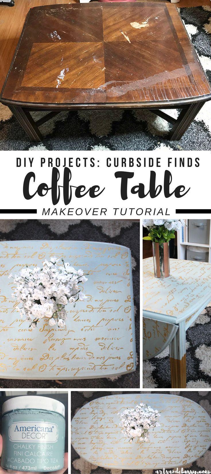 DIY Projects : Coffee Table Furniture Flip Makeover Tutorial | Arts and Classy