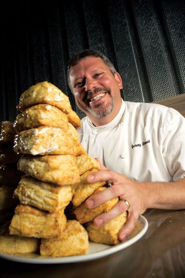 Chef Jeremy Sewall secret for excellent biscuits: use grated frozen butter in the batter to prevent the dough from getting overworked and tough.