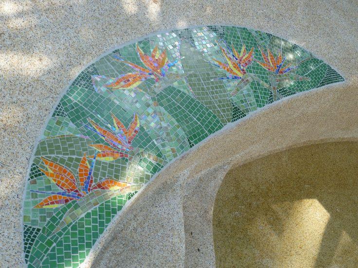 Strelitzia pool. Vitreous and fused glass
