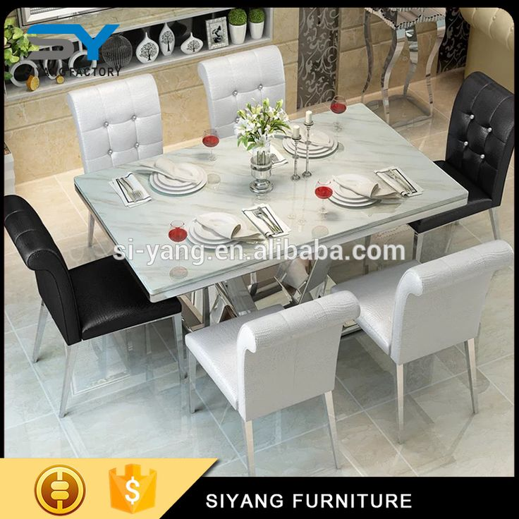 2017 Dinner Table With Jazz White Marble Top For Sale