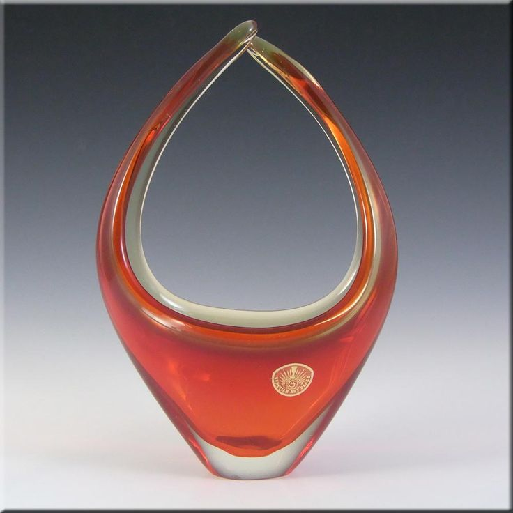Murano Red & Amber Sommerso Glass Organic Sculpture Bowl - £30.00