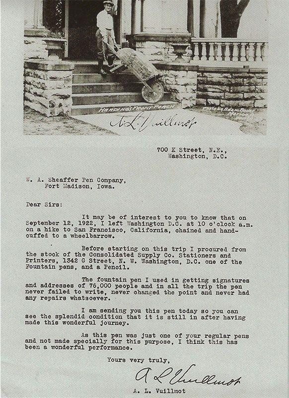 A.V Vuillmot's correspondence to Sheaffer