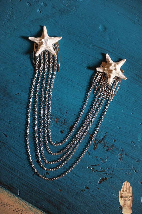 Mermaid Real Knobby Starfish Hair Chain by WhatHappensInOctober