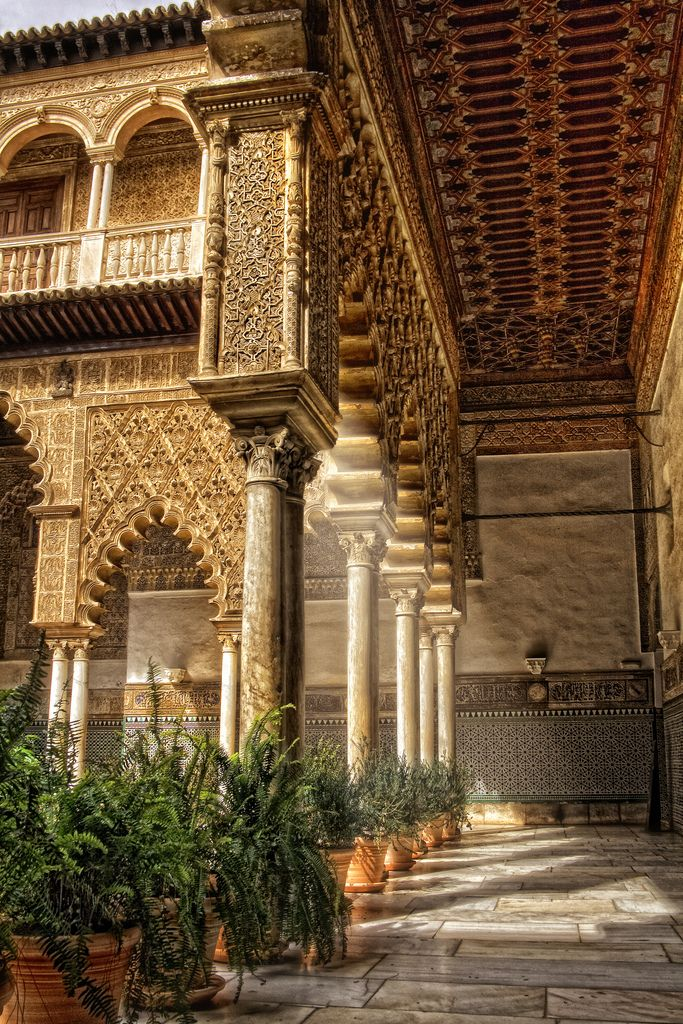 "Patio de las Doncellas. The name, meaning ""The Courtyard of the Maidens"", refers to the legend that the Moors demanded 100 virgins every year as tribute from Christian kingdoms in Iberia. Reales Alcázares de Sevilla (Royal Alcazars of Seville), the oldest royal palace still in use in Europe. #Spain"