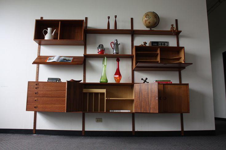 ... Majestic Hansen Danish Modern Teak Modular Wall Unit (Denmark, early 1960's)   by