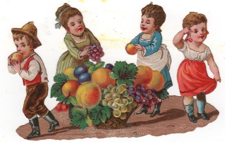 Victorian Die Cut Scrap 4 Kids and Basket of Fruit.