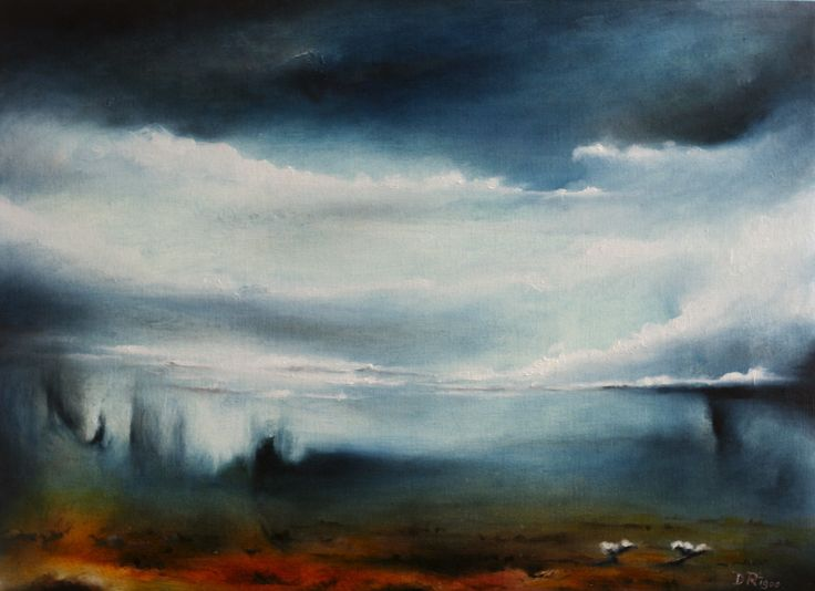 """Reflected Storm"" by Daniel Rigos. Abstract Surreal Landscape Oil Painting for Sale on Bluethumb - Online Art Gallery, Australia. 60cm (W) x 46cm (H) - $430 AUD"