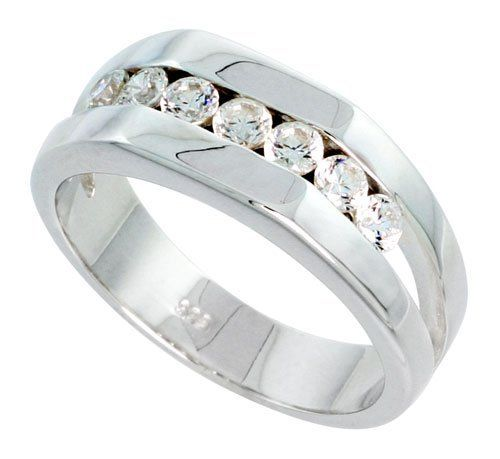 Gent's Perfect Quality Sterling Silver Brilliant Cut Cubic Zirconia Ring (Available in Sizes 8 to 13) size 9 Sabrina Silver. $74.36
