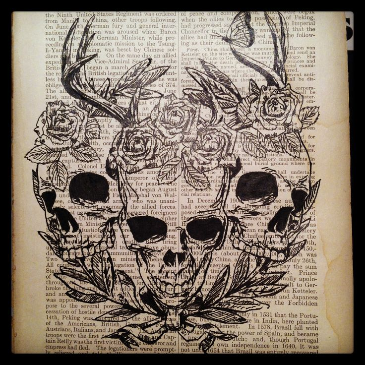Pen and ink drawing on an old book page #art9mm skulls roses antlers butterfly