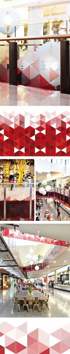 Balustrade graphic. Merrylands Shopping Centre. Graphic Design by Thoughtspace