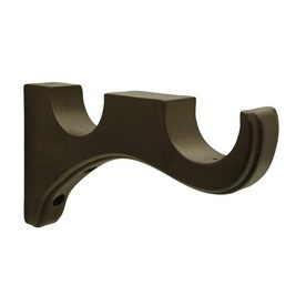 allen + roth 2-Pack Walnut Double Wood Curtain Brackets