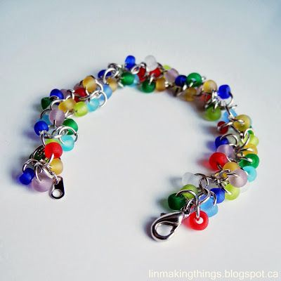 colourful bracelet made from jump rings and coloured beads
