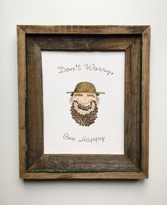 Dont Worry Bee Happy Print/Bee Art/Beekeeper Gift/Bee Lovers