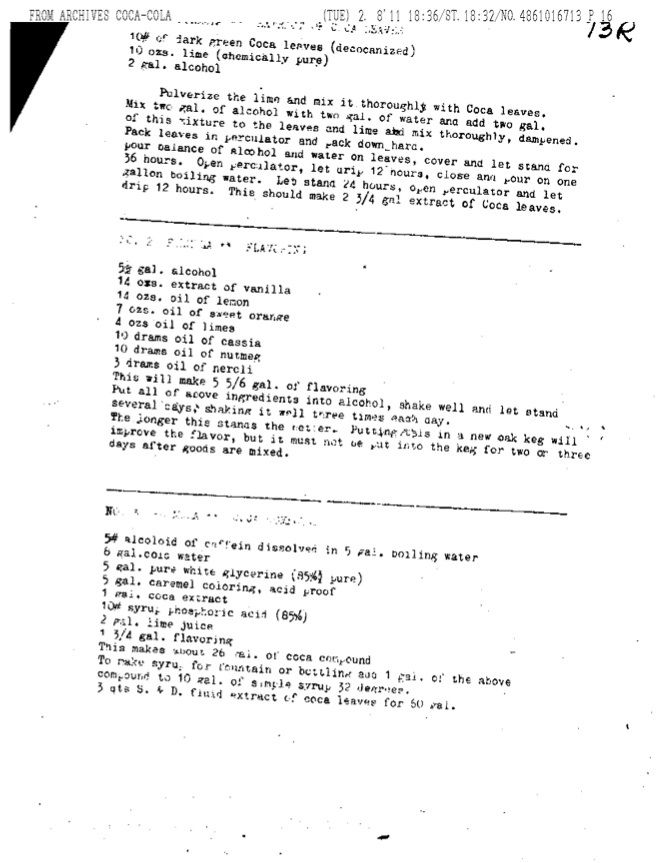 Whitten Recipe Continued Whitten's recipe, which is quite close to the one in the notebook shown in the Atlanta newspaper photo.