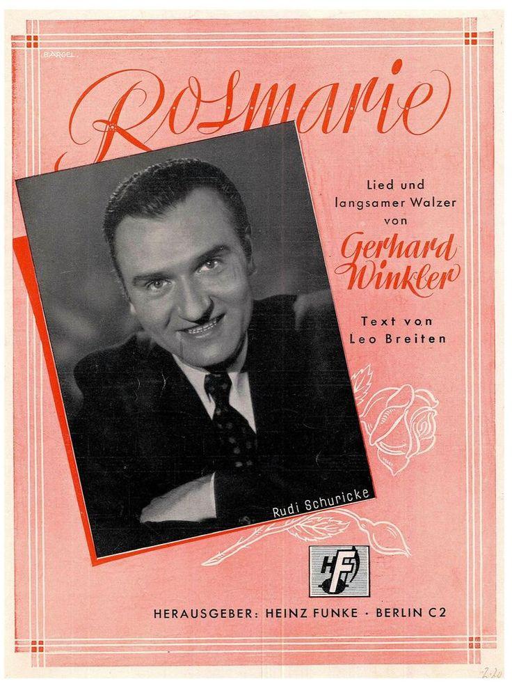 GERHARD WINKLER - ROSMARIE - LIED U. LANGSAMER WALZER - MUSIKNOTE