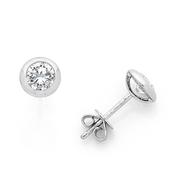 Bezel set diamond earrings.... simple and stunning