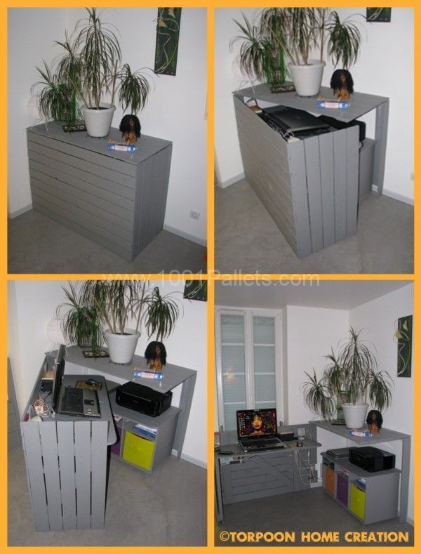Bureau caché / Hidden desk | 1001 Pallets...This could be made in a different style but the concept is terrific for a small space.: