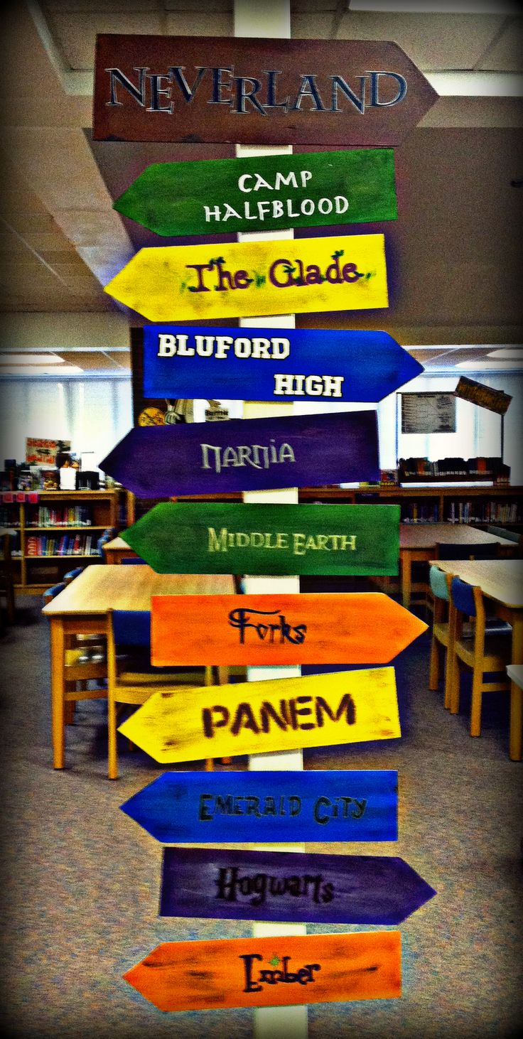 Other pinner said...I am a middle school librarian and I love, love, love this idea! I am planning to do it for my school library this year! Some other settings we have come up with as well are: Walnut Grove, The Shire, Mordor, Wonderland, Westmore Middle School, Camp Green Lake, Fowl Manor, and Green Gables.