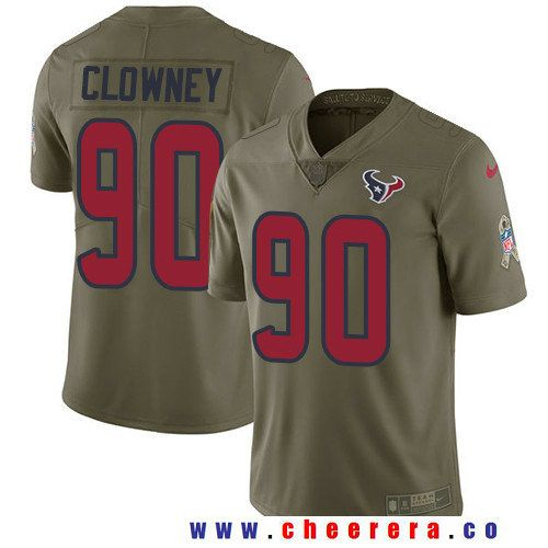 Men's Houston Texans #90 Jadeveon Clowney Olive 2017 Salute To Service  Stitched NFL Nike Limited