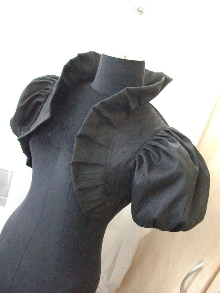 LOUIS XIV LOVE black dupioni silk bolero black bolero jacket black jacket victorian jacket bridal bolero jacket wedding shrug. $69.99, via Etsy.