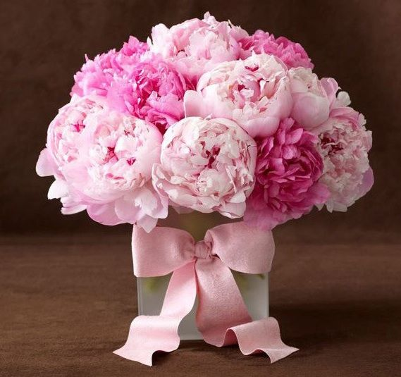 What a richly beautiful bouquet of pink peonies. #flowers #pink #peonies #wedding #arrangement