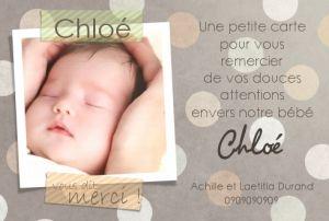 Remerciements naissance-Carte de remerciement naissance Fond à pois et ruban adhésif rayé