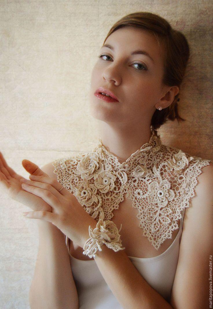 """Irish lace collar + bracelet / Воротничок и браслет """"Драгоценная Роза"""", ирландское кружево — работа дня на Ярмарке Мастеров.  Узнать цену и купить: http://www.livemaster.ru/maritapopova"""