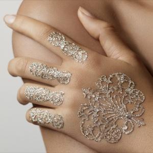 Gioiello Tatuaggio Hand Kit ARGENTO con Swarovski [Ines de Castilho Tattoo Adesivi]