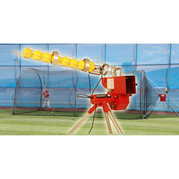 Trend Heater Softball Pitching Machine With Auto Ball Feeder & Xtender 24' L x 12' W x 12' H' Batting Cage / Model HTRSB699