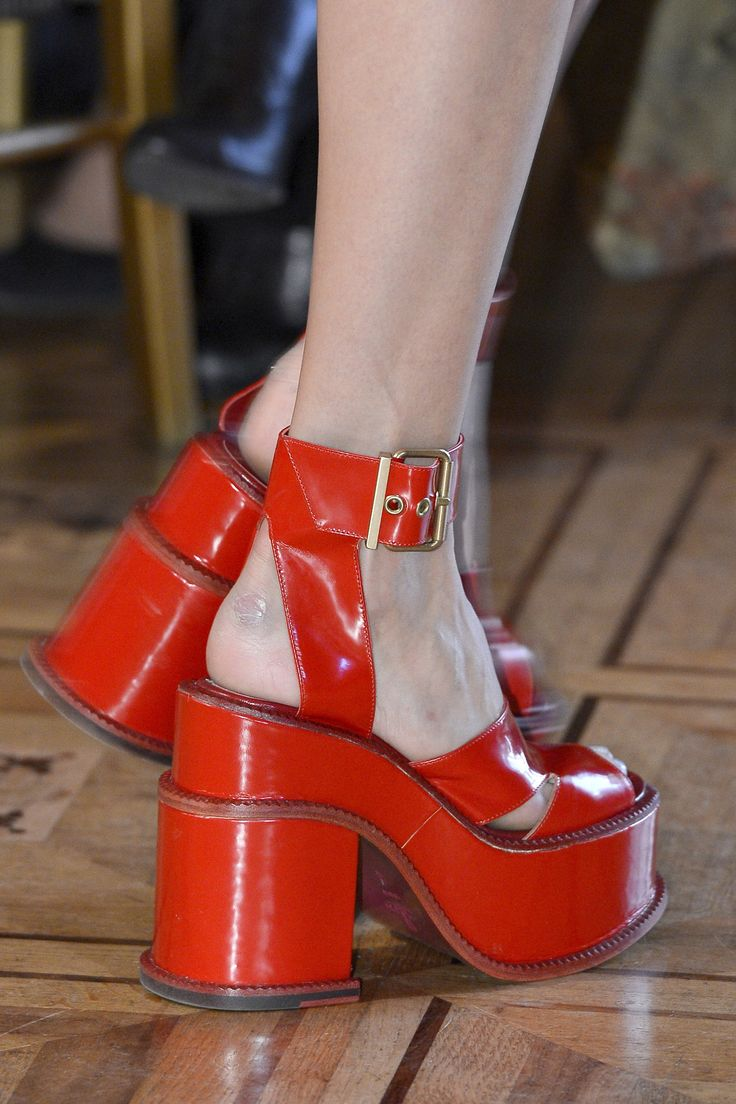 Red And Gold Platform Heels