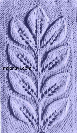 узоры вязание на спицах листья  http://mslanavi.com/2014/02/azhurnye-uzory-spicami-77/