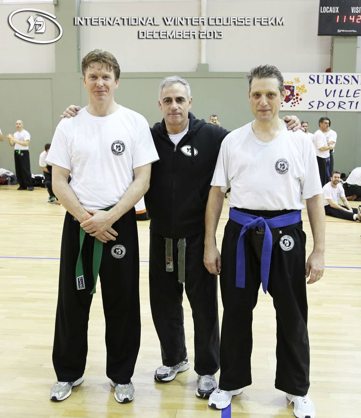 Simon Pither and Remi Lessore from South London Krav Maga with Richard Douieb, President of the European Federation of Krav Maga at the Winter Course 2013 in Paris