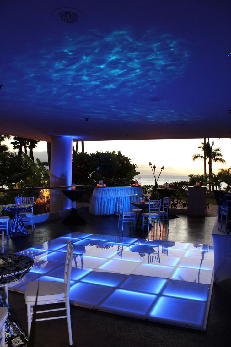 Westin Maui Resort & Spa Wedding Setup by Hawaiian Rents LED Dance Floor by KCK Entertainment