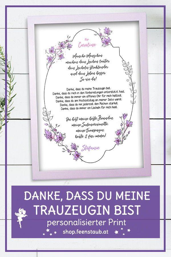 Tauzeugin Danke Print Mit Spruch Beste Freundin Feenstaub At Shop Hochzeitsbriefe Hochzeit Vorbereitung Hochzeit