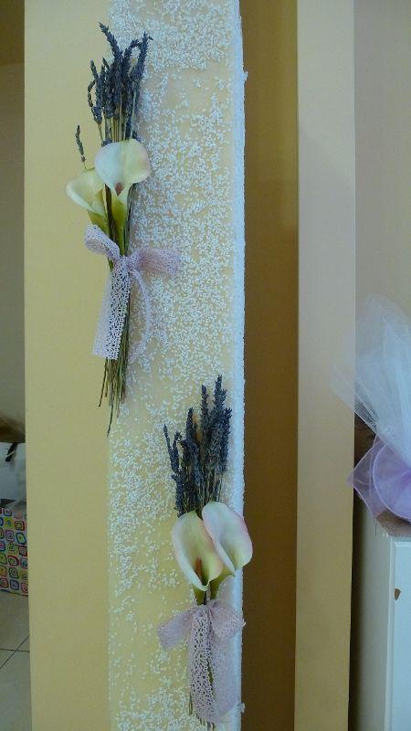 Λαμπάδες γάμου τετράγωνες με κάλλες και λεβάντα