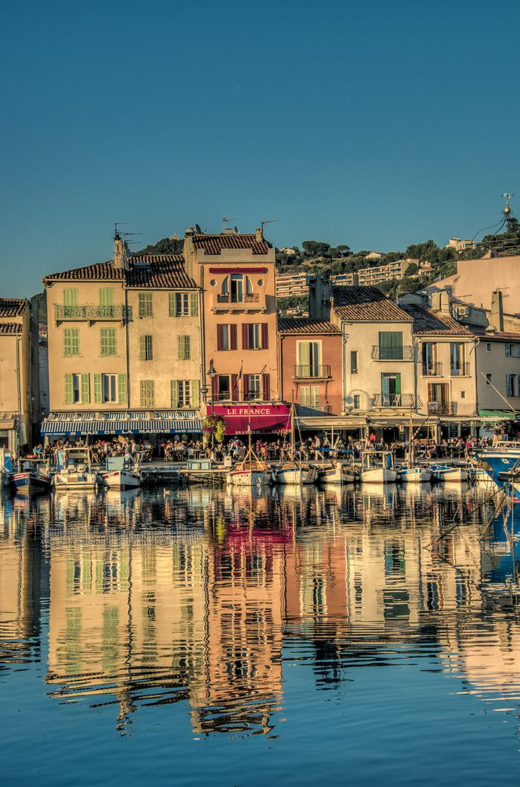 Cassis is east of Marseille in the department of Bouches-du-Rhône in the Provence-Alpes-Côte d'Azur Region in southern France.  It is a popular tourist destination, famous for its cliffs and the sheltered inlets called calanques.