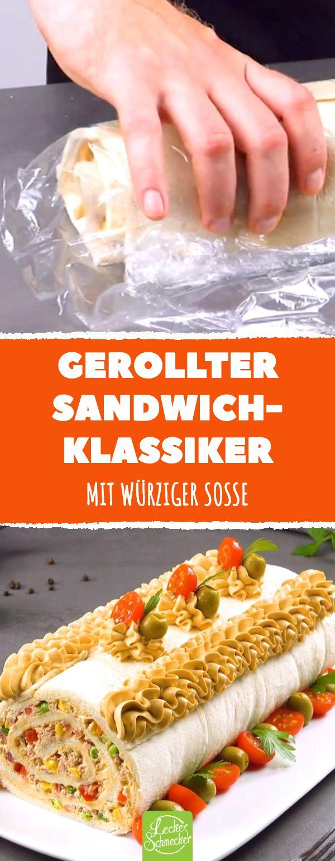 Gerollter Sandwich-Klassiker. Mit würziger Soße….