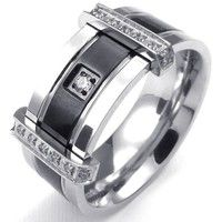 Wish | Mens Cubic Zirconia Stainless Steel Ring, Charm Elegant Wedding Band, Black&Silver and Gold & Silver