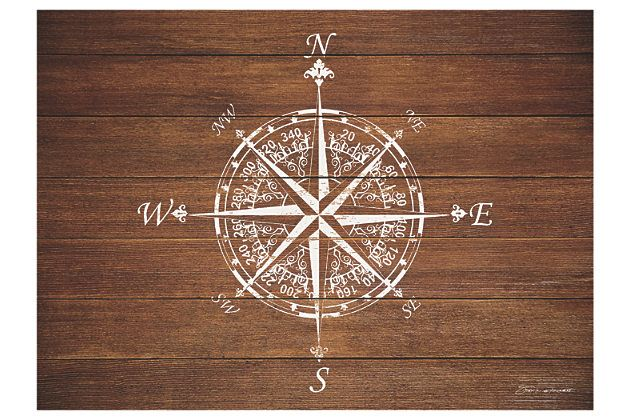 """Home Accents Premium Comfort 22"""" x 31"""" Compass on Wood Mat by Ashley HomeStore, Brown"""